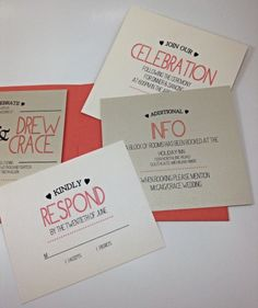Charming Coral Wedding Invitation with Modern Day Flair - Inserts