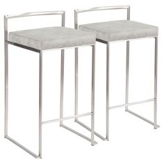 Lumisource Fuji 26 in. Stainless Steel Stackable Counter Stool with Light Grey Cowboy Fabric Cushion (Set of 2)