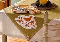This rustic burlap tablecloth from @Plaid Crafts would be perfect for Thanksgiving dinner!