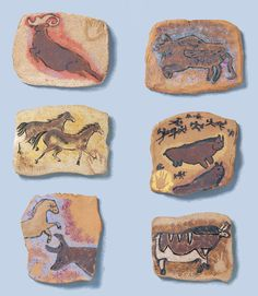 Lascaux-style cave paintings on clay, uses a small amount of clay per student. Elementary or middle school art project. Ceramics Projects, Clay Projects, Middle School Art, Art School, Stone Age Art, Lascaux, 6th Grade Art, Art Lessons Elementary, Art Lesson Plans