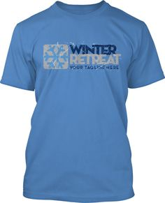 Winter Retreat Youth Camp with a snowflake icon can be screenprinted on Hoodies or long sleeves too. It looks great on any color blue shirts.  Talk to a designer today to get it customize this design for your winter camp!  Winter Retreat Youth Camp T-Shirt Design #817