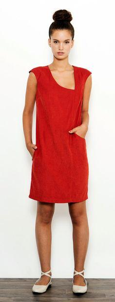 Red Cocktail Dress, Elegant Dress, Spring Dress, Dress with Pockets, Party Dress, Loose Dress on Etsy, $130.01