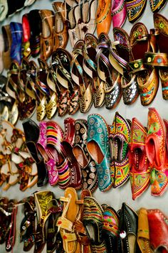 Shoe Wall in 2020 Indian Shoes, Indian Jewelry, Punjabi Culture, Shoe Wall, Amazing India, Color Of Life, Ibiza, Beautiful Shoes, Indian Dresses