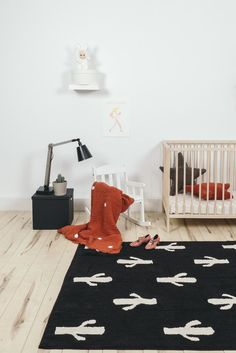 This Cactus Rug is the perfect touch in a Southwest-inspired nursery. Love the black and white design!