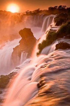 Golden Mists - Iguazu Falls, Argentina by Rafael Rojas - by Pars Kutay Beautiful Waterfalls, Beautiful Sunset, Beautiful Landscapes, Beautiful World, Beautiful Places, Amazing Places, All Nature, Amazing Nature, Cool Pictures