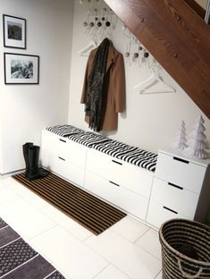 because in real life, of course, our Flur wardrobe never looks so tidy . - Home Decor -DIY - IKEA- Before After Hall House, House Entrance, Ikea Nordli, Hall Wardrobe, Entryway Decor, Bedroom Decor, Entry Hall, Under Stairs, White Furniture