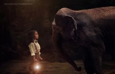 Fearless-Little girl with elephant