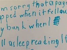 Honest boy writes sweet apology to library about page ripped out of his book