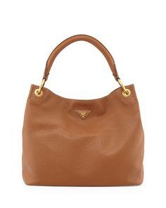 Vitello Daino Single-Strap Hobo Bag, Brown (Brandy) by Prada at Bergdorf Goodman.