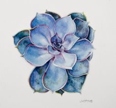 Original Succulent Watercolor Painting small by PolarRootStudio
