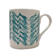 teal herringbone patterned china cup by orwell and goode | notonthehighstreet.com