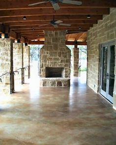 stained concrete- back patio idea. This could use an outdoor #Capel rug by jeanie