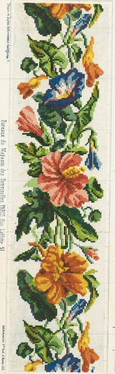 Lovely floral border, Berlin Woolwork