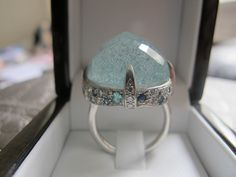 Huge Icy Aquamarine Platinum Ring which also doubles as a weapon! score. two birds, one stone... (no pun intended, seriously!)