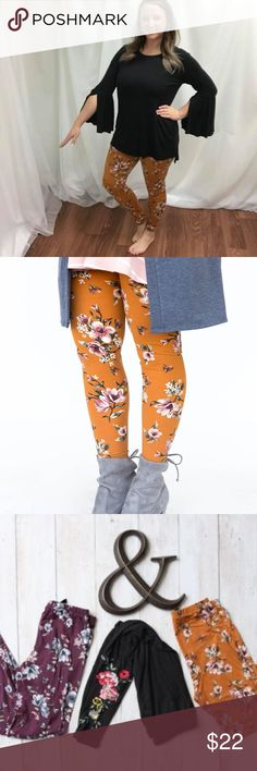 Leggings Golden Blossom Say hello to comfort and fashion, all rolled into one high-quality pair of leggings. Whether you dress them up or tone them down, you'll never regret heading out in these stylish leggings.  27'' Inseam  Printed Leggings  90% Polyester 10% Spandex  Wash cold and inside out. Dry flat.  Made in the USA from imported fabrics  --- i the owner am 5'6 & 180lbs -- i am wearing a large Agnes & Dora Pants Leggings