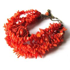 Your place to buy and sell all things handmade Coral Bracelet, Coral Jewelry, Boho Jewelry, Unique Jewelry, Buddha Jewelry, Buddha Beads, Red Coral, Bead Caps, Stone Bracelet