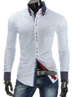 Sutures Design Color Block Splicing Shirt Collar Long Sleeve Slimming Fashion Button-Down Shirt For Men