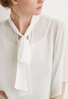 Contemporary Self-Tie Neck Cropped Blouse