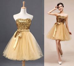 Gold short prom dress tulle dress bridesmaid dress by DressStories, $89.00