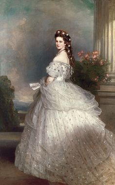 "Portrait of Empress Elisabeth of Austria, or Princess Sissi as she is better known thanks to Romy Schneider's movies. ""Elisabeth with diamond stars in her hair"" (oil on canvas) 1865 Franz Xaver Winterhalter Franz Xaver Winterhalter, Victorian Era, Victorian Fashion, Vintage Fashion, Empress Sissi, Kunsthistorisches Museum Wien, Kaiser Franz, Gala Dresses, Historical Clothing"