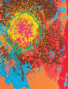 John Hoyland - Soulless Stars Cascade, 2010. Silkscreen print on paper with glazes