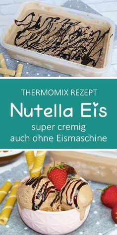 Cremiges Nutella Eis ohne Eismaschine This Nutella ice cream is super creamy even without an ice cream maker. A must for all Nutella lovers :-] Mix everything together and then put it in the freezer a Desserts Thermomix, Healthy Dessert Recipes, Easy Desserts, Smoothie Recipes, Cookie Recipes, Pie Recipes, Dessert Simple, Desserts Sains, Ice Cream Maker