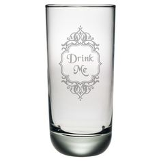 "Set of four highball glasses with hand-etched ""Drink Me"" labels. Made in the USA.   Product: Set of 4 highball glasses"