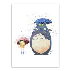 808a045213fec Watercolor Miyazaki Japanese Anime Movie Canvas A4 Art Print Poster Kawaii  Totoro Wall Picture Kids Room Decor Painting No Frame
