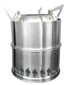 "The Siver Fire Scout - Bug Out Twig Stove is a lightweight (9 ounce) twig or field scrub stove. This natural draft biomass gasifier (TLUD), is perfect for backpacking or bug out bags. The stove collapses down to 2 1/2"" / 6.35 cm in height x 5"" / 12.7 cm in width). Compact, lightweight, & dependable."
