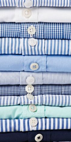 I just ordered a custom shirt from Gitman Brothers. I don't buy a ton, but it try to buy the best quality, and it's made in America. Blue stripes, spread collar, no pocket, and my initials on the cuff. I will post a picture when it arrives. My closet looks a bit like this stack….