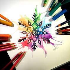 Rainbow Snowflake Commission by Lucky978.deviantart.com on @DeviantArt