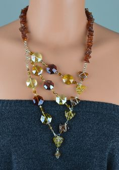 Amber necklace asymmetrical necklace handmade by CHARMATIONS