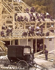 Amish barn raising. ~ What good could be done if all God's people practiced such brotherhood.