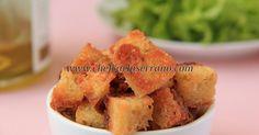 Utilize no acompanhamento de saladas, sopas ou cremes! Foto: Carla Serrano Ingredientes: 7 fatias de pão de fôrma sem glúten...