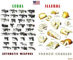 Automatic Weapons vs French Cheese.  Here in France it's the other way round.  I prefer.