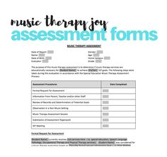 These forms are designed to offer you professional, consistent, clearly outlined digital templates for your school-based music therapy assessments that you can fill-in, save and submit in a variety of formats – via email, upload to your districts online system or in print, as needed! Music Education, Special Education, Private Practice, Music Therapy, Her Music, Assessment, Fill, Ebooks, Joy