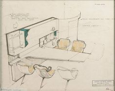 """A late 1960s interior illustration by Raymond Loewy,  """"the father of industrial design,"""" is one of three studies for the NASA Saturn Five Space Station"""