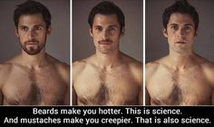 Beards = Hot; Mustache = Creepy   This is Science!