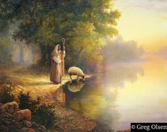 Greg Olsen Christian Art Jesus Christ: Beside Still Waters Pictures Of Christ, Bible Pictures, Lord Is My Shepherd, The Good Shepherd, Amedeo Modigliani, Lds Art, Bible Art, Bible Scriptures, Jesus Art