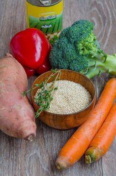 Quinoa cu legume si naut la cuptor - Din secretele bucătăriei chinezești Quinoa, Carrots, Vegetables, Food, Essen, Carrot, Vegetable Recipes, Meals, Yemek