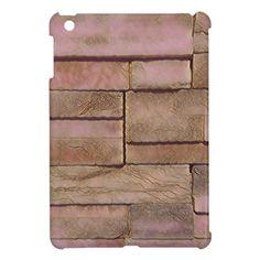 Dusty Rose Tan Stacked Bricks iPad Mini Cases - pattern sample design template diy cyo customize