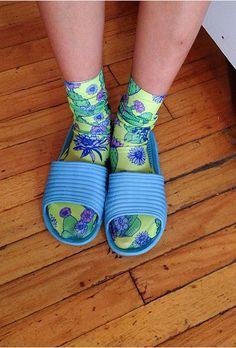 peyote cacti socks & slides