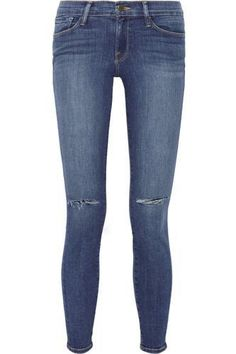 Le Skinny de Jeanne distressed mid-rise jeans #skinnyjeans #offduty #covetme…