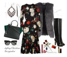 Fall Florals by christina-geo on Polyvore featuring Dolce&Gabbana, ..,MERCI, Victoria Beckham, Fendi and MAC Cosmetics