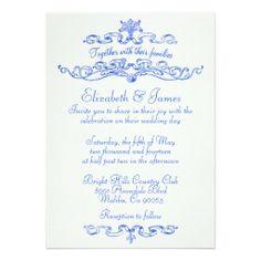 simple luxury blue wedding invitations