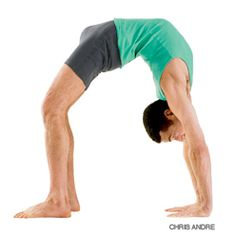 Upward Bow or Wheel Pose -  Urdhva Dhanurasana - (OORD-vah don-your-AHS-anna) - Benefits  Stretches the chest and lungs  Strengthens the arms and wrists, legs, buttocks, abdomen, and spine  Stimulates the thyroid and pituitary  Increases energy and counteracts depression  Therapeutic for asthma, back pain, infertility, and osteoporosis