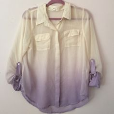Sheer Ombré Buttondown Worn once. Great condition. Sheer button-down with roll sleeve detail. Cream and purple ombré. So pretty!   Bundle to save 20% Tops Button Down Shirts