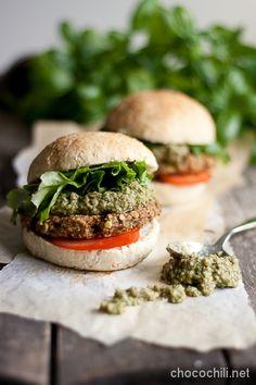 Vegan Lentil & Quinoa Burgers w/ Green Cilantro & Sunflower Seed Sauce - Chocochili
