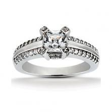 18k White Gold Princess Cut Engagement Ring with Plain Center available at Wheat Jewelers