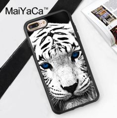 Blue eyed tiger Coque Accessories For Apple iPhone 6 6S Plus 7 7 Plus 5 5S 5C SE 4S Case Soft Rubber Printing Phone Cover